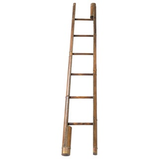 Antique Library Leather Covered Pole Ladder For Sale