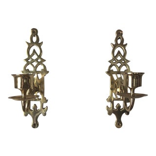 1970s Brass Wall Candleholders - a Pair For Sale