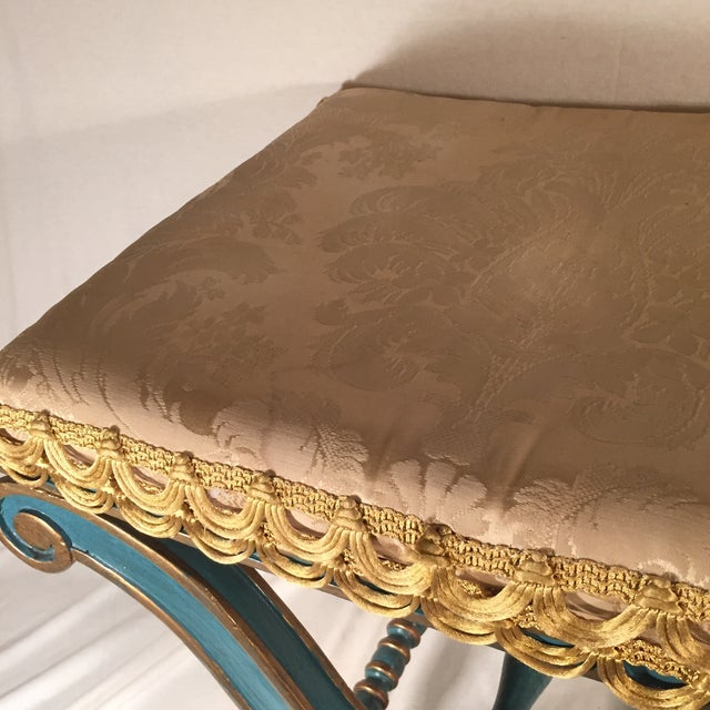 Carnival Early 20th Century Antique Neo Classic Style Painted Stool For Sale - Image 3 of 5
