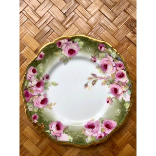 French Limoges Gilt Hand-Painted Porcelain Cake Plate With Pink Roses Preview