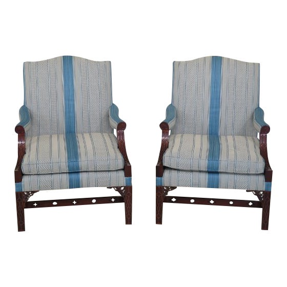 Modern Kindel Chippendale Mahogany Upholstered Chairs- A Pair For Sale