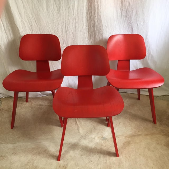 Mid-Century Modern Eames DCW From Herman Miller Red Dining Chair For Sale - Image 3 of 9