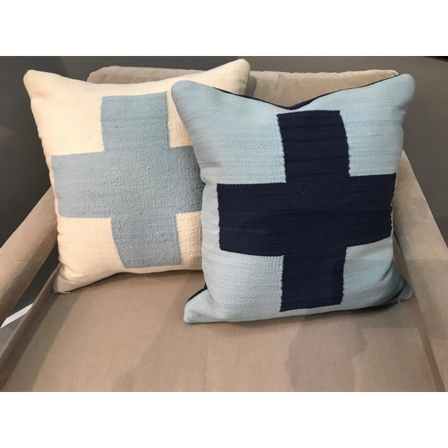 1990s Jonathan Adler Reversible Light Blue Cross Pop Wool Throw Pillows - a Pair For Sale - Image 5 of 5