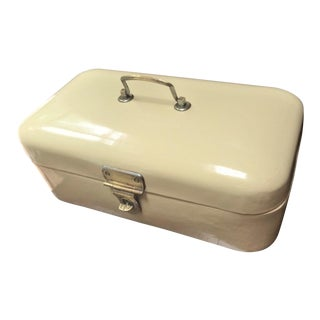 Czech Enameled Vintage Bread Box or Lunch Box For Sale