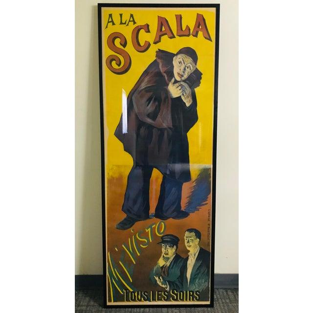"Rare large original French poster ""A La Scala Mévisto"". A great styling piece!"
