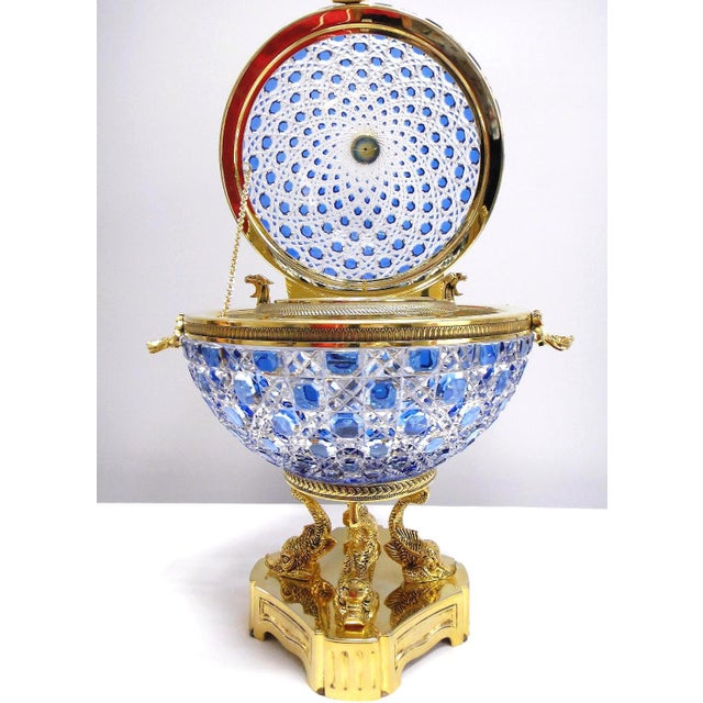 Monumental Caviar Bowl by Cristal Benito Offered for sale is a monumental 20 inch tall cut crystal and 24-karat caviar...