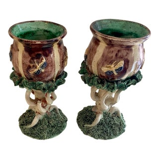Palissy Spill Vases - a Pair For Sale