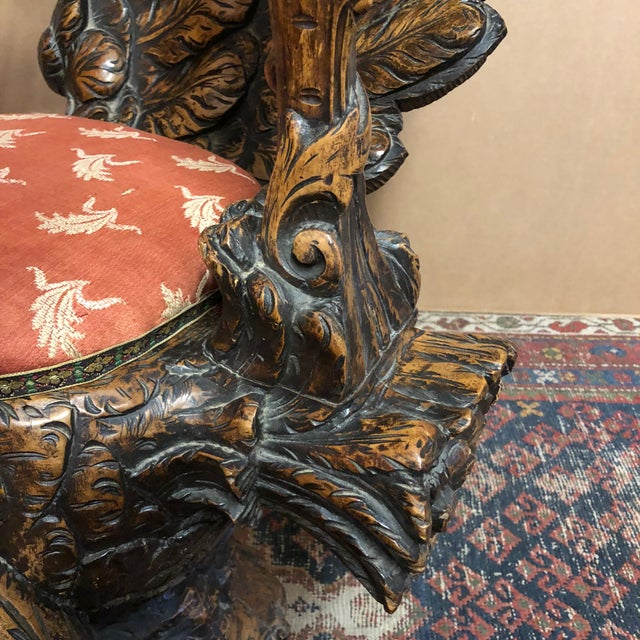 19th Century Venetian Hand Carved Swan Grotto Chair For Sale - Image 10 of 13