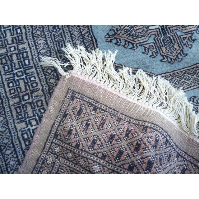 Islamic Vintage Mid-Century Handwoven Wool Pakistan Bokhara Area Rug - 4′3″ × 6′7″ For Sale - Image 3 of 12
