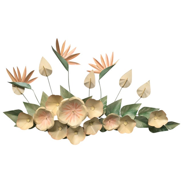 Mid Century Modern Bird of Paradise Flower Tole Wall Sculpture For Sale