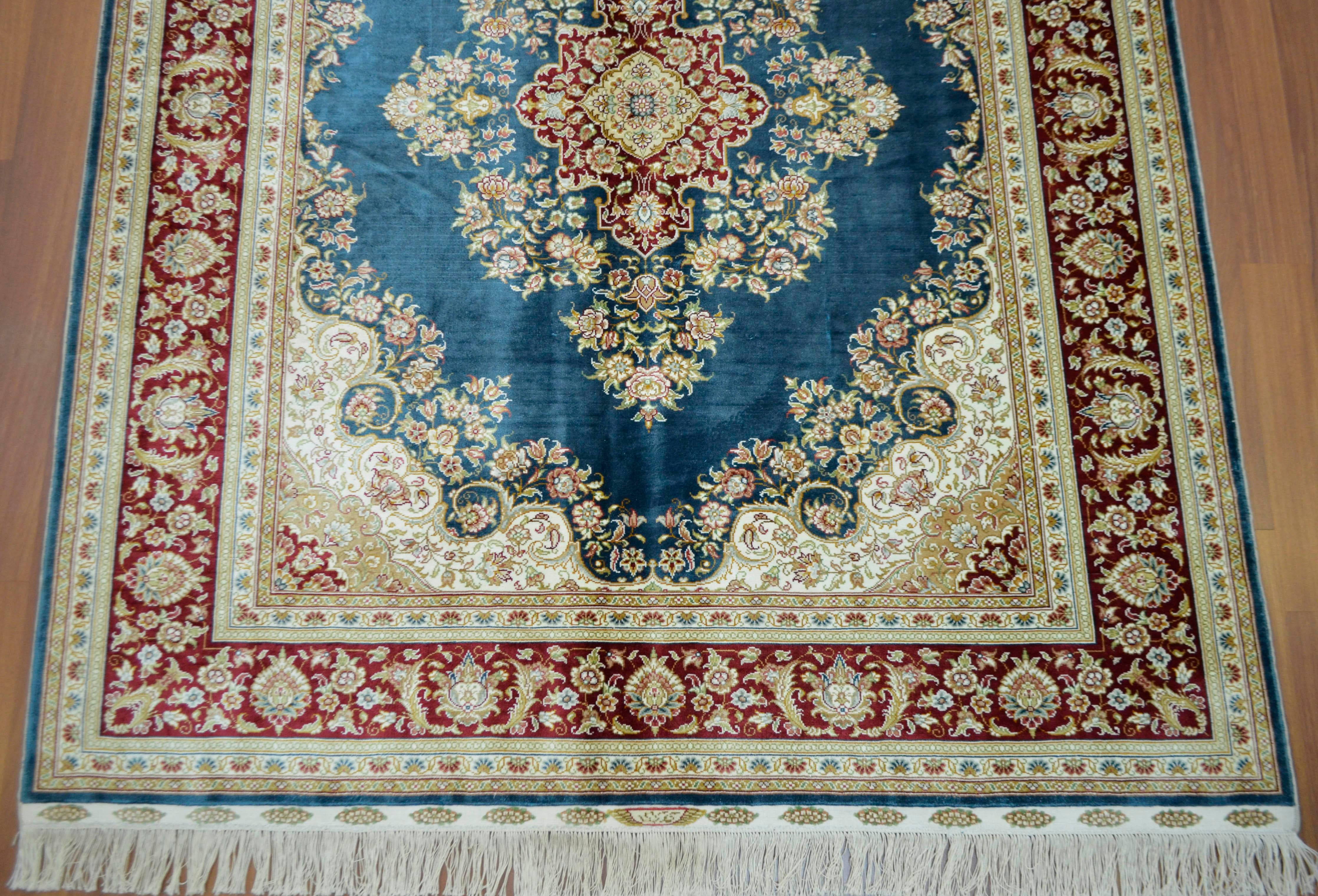 What Makes Turkish Rugs Great How You Can Read The Design Of A Turkish Rug: Hand Knotted Turkish Silk Rug - 4′11″ × 6′1″