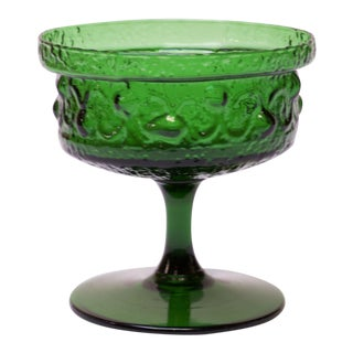 Stelvia Emerald Blown-Glass Stemmed Dish Designed by Wayne Husted For Sale