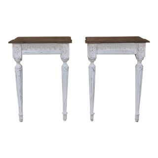 19th Century Italian Neoclassical Painted Consoles - a Pair For Sale