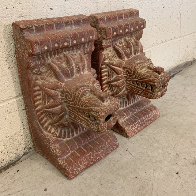 Mid-Century Modern Large Terra-Cotta Bookends Quetzalcoatl Pyramid For Sale - Image 3 of 12