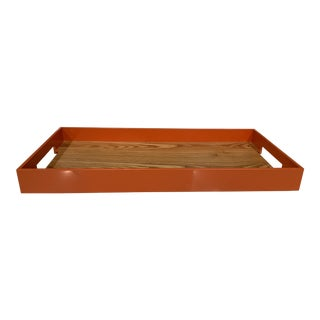 Contemporary Interlude | Orange and Wood Tray For Sale