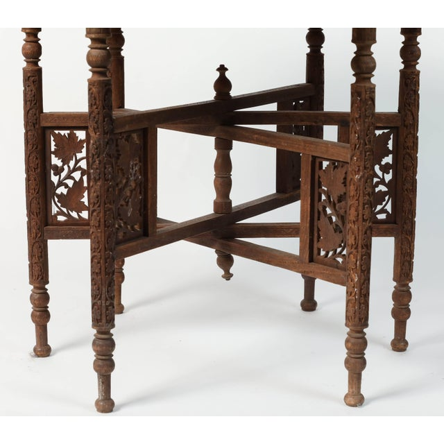 Early 20th Century Early 20th Century Middle Eastern Syrian Antique Brass Tray Table With Wooden Folding Stand For Sale - Image 5 of 9