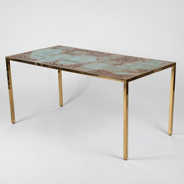 Contemporary Rare Harvey Probber Acid-Etched and Patinated Bronze Sofa Table, Circa 1960s For Sale - Image 3 of 13