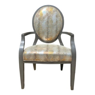 """""""Brandi Chair"""" Oval Back Open Armchair in Gilded Leather by Hancock & Moore For Sale"""