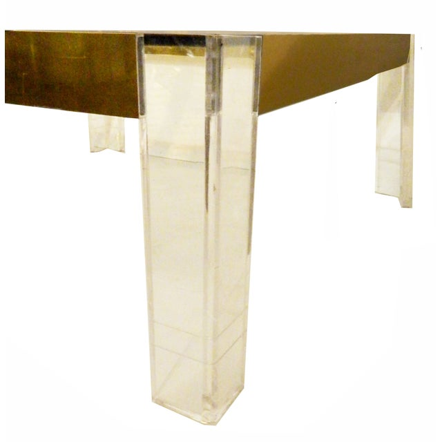 1970s Lucite & Brass Cocktail Table - Image 5 of 6