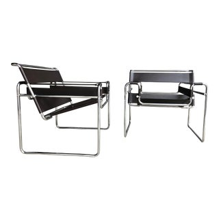Pair of Marcel Breuer Wassily Chairs - Brown Leather Chrome Sling Chairs For Sale