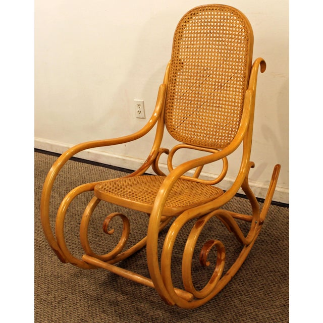 Art Nouveau Thonet Salvatore Leone Bentwood Caned-Seat Rocking Chair #10 For Sale - Image 3 of 11
