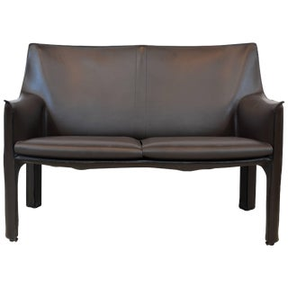 Late 20th Century Modern Mario Bellini for Cassina Leather Cab Loveseat