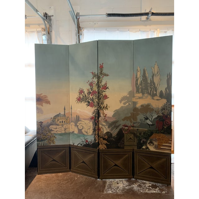 French Provincial Vintage Maitland Smith Hand Painted 4 Panel Folding Screen For Sale - Image 3 of 13