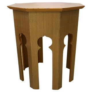 Stylish Moroccan Inspired Grass Cloth Wrapped Side Table End Table For Sale
