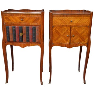 Pair of Transitional Inlay Wood Side Tables One with Faux Leather Books Exterior For Sale