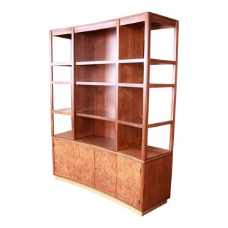 Edward Wormley for Dunbar Walnut and Burlstructure Wall Unit or Room Divider, Newly Restored For Sale