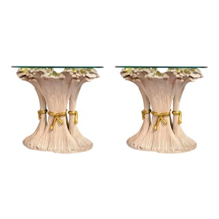 Palm Beach Style Wheat Center Tables - A Pair