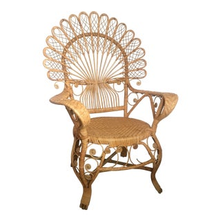 Vintage Wicker and Rattan Peacock Chair For Sale