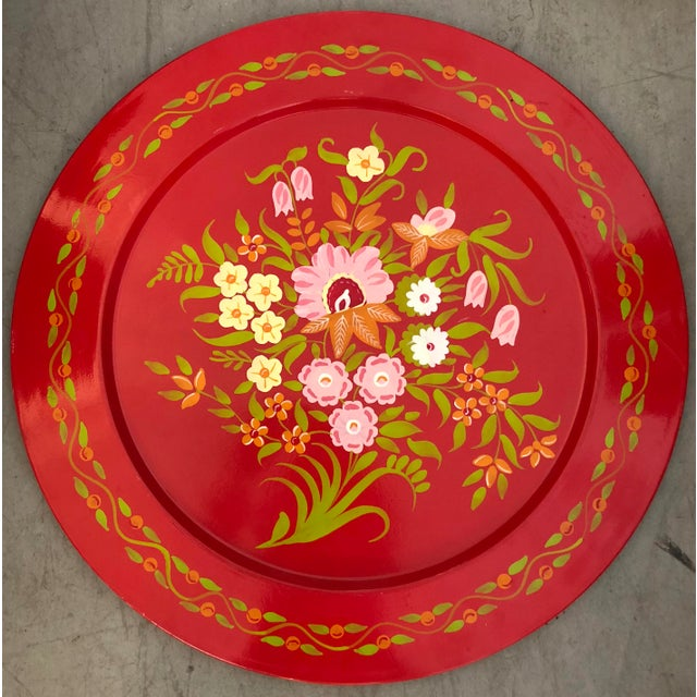 Large Painted Metal Tray For Sale - Image 5 of 5