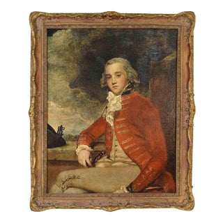 Captain Bligh by Sir Joshua Reynolds Framed Oil on Canvas Reproduction 27in X 33in For Sale
