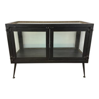 Mid-Century Modern Style Industrial Iron and Glass Display Console Table For Sale