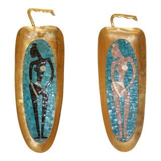 Salvador Teran Brass & Glass Mosaic Figurative Trays - A Pair For Sale