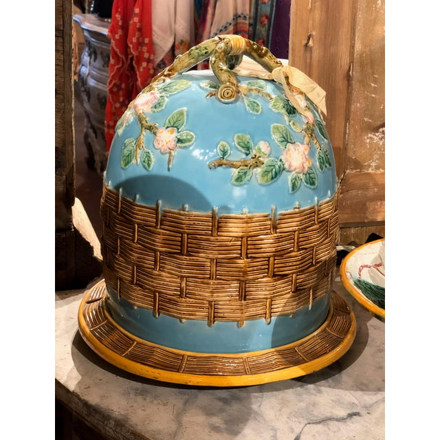 """George Jones Majolica apple blossom cheese dome from England. With underplate. Dome 9"""" Diameter x 12"""" High Underplate 11""""..."""