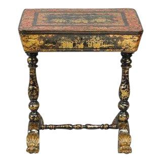 Chinese Black Japanned & Parcel Gilt Desk For Sale
