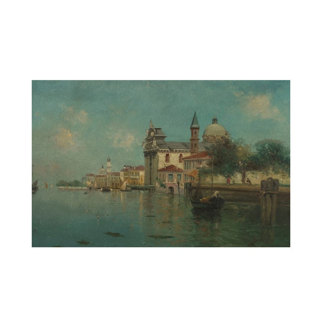 Pair of Italian (19th Cent) Venetian canal scene oil painting in a maple frame (signed A RODETTI).
