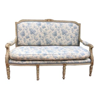 French Provincial Shabby Chic Settee For Sale