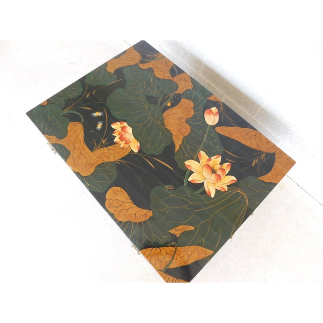 Late 20th Century Maitland Smith Chinoisere Decorated Lacquered Cocktail Coffee Table For Sale - Image 5 of 13