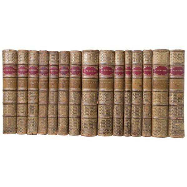 Black 19th Century English Tree Marbled Calf Leather Bound Books - Set of 29 For Sale - Image 8 of 9