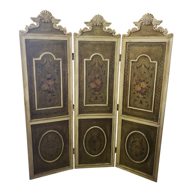 Antique French Renaissance 3 Panel Screen For Sale
