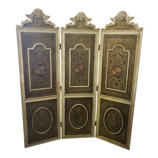 Antique French Renaissance Style 3 Panel Screen For Sale