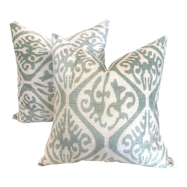 Cream and Sea Foam Ikat Velvet Pillows - a Pair For Sale