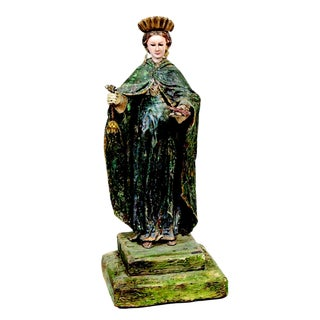 17th Century Spanish Colonial Polychrome Figure of Saint For Sale