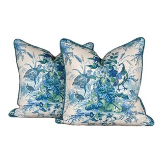 Quail Meadow in Peacock by Schumacher - a Pair of Pillow Covers For Sale
