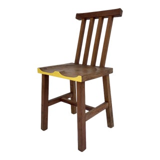 Contemporary Hand Carved Modern Wood Cubist Chair For Sale