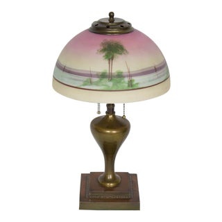Early 20th Century Pittsburgh Sunset Over Water Table Lamp For Sale