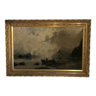 Antique Oil Painting in Gold Frame For Sale